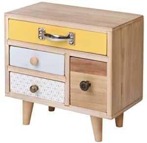 SLPR Wooden Desk Organizer with 4 Drawers | Small Decorative Natural Wood Storage | Office Supplies Desk Organizer