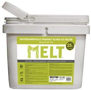 Snow Joe MELT25EB-BKT 25 lb Flip-Top Bucket with Scoop Melt Premium Environmentally Plus Pet Friendly Blend Ice Melt