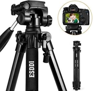 Camera Tripod – ESDDI 170cm/67inches Compact Aluminum Lightweight Tripod for DSLR SLR Canon Nikon Sony Olympus DV Maximum Load Capacity 11Lbs/5Kg and 1/4″ Mounting Screw