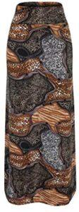 FONMA Women's High Waist Geometric Stitching Print Bodycon Long Maxi Skirt
