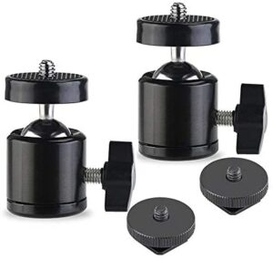 Slow Dolphin Hot Shoe Mount Adapter 360 Degree Swivel Mini Ball Head 1/4 Tripod Screw Head for Cameras, Camcorders, Smart Phone, Gopro, LED Video Light, Microphone(2 Packs)