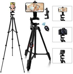 iPhone Tripod, 54″ Lightweihgt Travel Tripod with Phone Holder Adapter/Bluetooth Remote/Carry Bag for Selfie, Video, Live Stream, Vlogging, Facebook, Tiktok (Black)