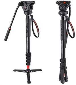Monopod, COMAN KX3232 73.2 inch Professional Monopod Tripod Lightweight Aluminum Telescopic Camera Monopod with Pan Tilt Fluid Head and Tripod Base for DSLR Video Cameras