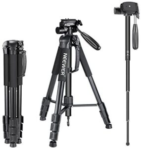 Neewer Portable Aluminum Alloy Camera 2-in-1 Tripod Monopod Max. 70″/177 cm with 3-Way Swivel Pan Head and Carrying Bag for DSLR,DV Video Camcorder
