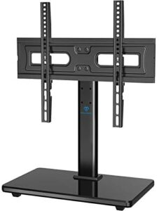 PERLESMITH Universal Swivel TV Stand-Table Top TV Stand for 32-55 lnch TV-Height Adjustable TV Base with Heavy-Duty Tempered Glass Base, VESA 400×400