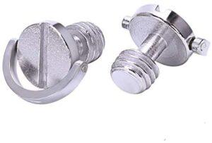 HARIKA 2pcs Longer Shaft D-ring Screw 3/8 inch-16 Thread Camera Tripod Quick Release Fixing Screw Adapter metal Photo Studio tool parts
