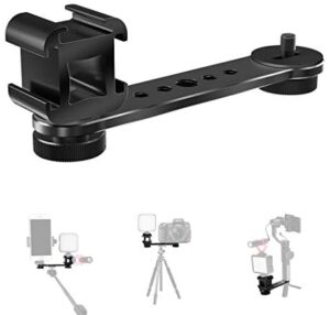 Triple Cold Shoe Extension Bar, KDD Microphone Mount Extension Bar Bracket with 1/4 3/8 Adapter Compatible for Gimbal, Tripod, Monopod OSMO Zhiyun Feiyu Stabilizer