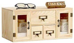 Double Door Solid Wood Desk Organizer Office Supplies Desktop Stationery Storage Box/Cabinet Mutifunction Makeup/Book/Jewelry Holder 3 Drawer Set for Home School Office