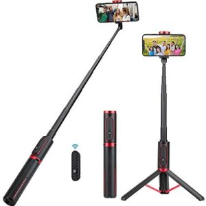 Selfie Stick Tripod, KKUYI Phone Tripod Stand with Wireless Bluetooth Remote Extendable 3 in 1 Aluminum Selfie Stick for iPhone 11/11 Pro/iPhone X/Xs Max, Galaxy S10/S9 Plus/Note8, Google Pixel