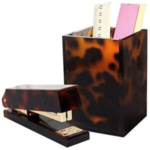 3 Pack Tortoise Desk Stationery Set for Office School N Home, Pen Holder Countertop Make-up Brush Cup, Stapler with 950Pcs Rose Gold Staples Gift Idea