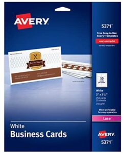 AVERY 2″ x 3.5″ Business Cards, Sure Feed Technology, for Laser Printers, 250 Cards (5371), White (05371)