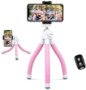 UBeesize Phone Tripod,Portable and Flexible Tripod with Wireless Remote and Phone Clip, Compatible with iPhone/Android/Camera GoPro,iPhone Tripod for Live Streaming Tiktok YouTube Video Recording,Pink