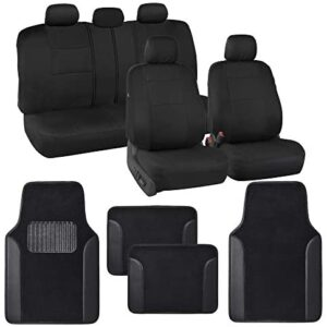 BDK Combo Car Seat Covers (2 Front 1 Bench) Auto Carpet Floor Mats (4 Set) with Heavy Protection Sleek Graphic Two Tone Fresh Design All Protective – Black Accent