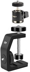 UTEBIT Super Mini Ball Head with C Clamp Adjustable Camera Mount Clamp Set 360 Degree Swivel Tripod Head with Hot Shoe and 1/4 Screw Compatible for Canon Compatible for Nikon DSLR Monitor