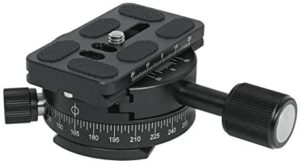 SIOTI 360°Panoramic Head, Panoramic Tripod Head with Quick Plate Compatible with RRS/ARCA Ball Head or Any Tripod Head/Tripod with 1/4″ or 3/8″ Mount