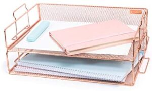Rosework Rose Gold Letter Tray – 2 Tier Rose Gold Desk Organizer for Women, Stackable Paper Tray Organizer, File Organizer for Home Office Supplies, Desk Accessories and Home Office