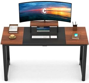 CubiCubi Computer Office Desk 63″, Study Writing Table, Modern Simple Style PC Desk with Splice Board, Black and Espresso