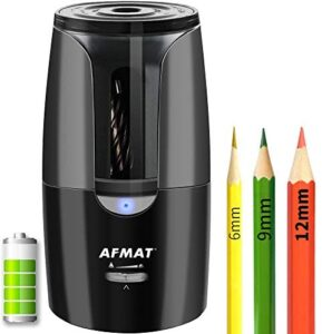 AFMAT Colored Pencil Sharpener, Pencil Sharpener for Artists, Large Rechargeable Pencil Sharpener for Colored Pencils(6-12mm), Super Quiet Long Lasting Electric Pencil Sharpener, Auto Stop