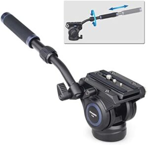 """Video Fluid Head Mount INNOREL F60 Professional Camera Tripod Fluid Drag Pan Head with 1/4"""" and 3/8"""" Screws Sliding Plate for DSLR Cameras, Camcorders, Telescope,Max Load 22lbs/10kg"""