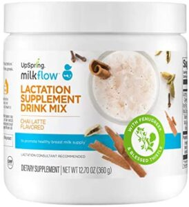 Upspring Milkflow Fenugreek and Blessed Thistle Lactation Tea, Chai Latte, Powder Drink Mix Lactation Supplement to Promote Breast Milk Supply, 24 Servings, Bulk Canister