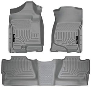 Husky Liners – 98202 Fits 2007-13 Chevrolet Silverado/GMC Sierra 1500 Crew Cab, 2007-14 Chevrolet Silverado/GMC Sierra 2500/3500 Crew Cab Weatherbeater Front & 2nd Seat Floor Mats (Footwell Coverage) Grey