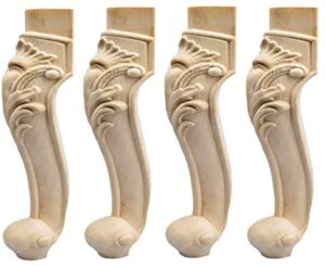 16 inch / 40cm Wooden Furniture Legs, La Vane Set of 4 European Style Solid Wood Carving Furniture Replacement Feet Decoration for Sofa Cabinet Wardrobe Table Loveseat