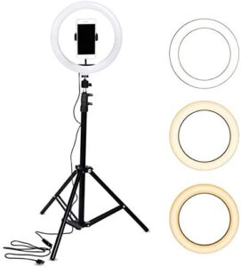 10″ LED Selfie Ring Light Dimmable and Extendable Tripod Stand & Flexible Phone Holder for Camera,Smartphone,YouTube,TikTok,Self-Portrait Shooting with Live Stream/Makeup,Compatible with iOS/Android