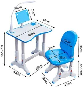 Children Desk and Chair Set, Kids Adjustable Study Table Chair for School Student Writing Reading Desk for Boys and Girls