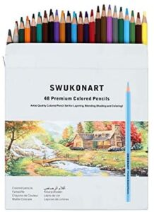 SWUKONART Colored Pencils Set 24-48 Colors Premium Soft Core Professional Artist Color Pencils for Adults, Beginners, Pro Artists Coloring Drawing Sketching Crafting (Wax-Based 48 colors)