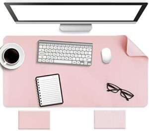 Non-Slip Desk Pad, Waterproof PVC Leather Desk Table Protector, Ultra Thin Large Mouse Pad, Easy Clean Laptop Desk Writing Mat for Office Work/Home/Decor(Pink, 31.5″ x 15.7″)