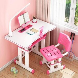 Liraly Kids Desk and Chair Set Adjustable Combined Study Table Multifunctional School Students Writing Drawing Desk w/Lamp
