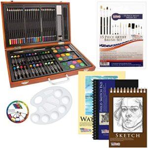 US Art Supply 82 Piece Deluxe Art Creativity Set in Wooden Case with Bonus 20 Additional Pieces – Deluxe Art Set