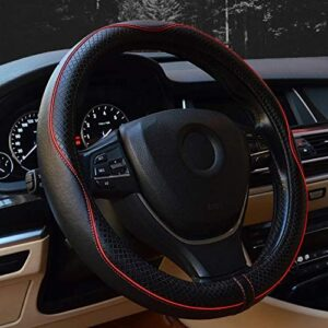 Valleycomfy 15.75 inch Auto Car Steering Wheel Covers Black with Red Lines- Genuine Leather for F-150 Tundra Range Rover.
