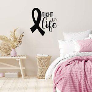 Vinyl Wall Art Decal – Fight For Life – 23″ x 22″ – Inspirational Breast Cancer Awareness Month Quote Sticker For Medical Institution Office Coffee Shop Bathroom School Healthcare Center Decor (Black)
