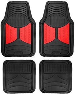 FH Group F11313 Monster Eye Trimmable Floor Mats (Red) Full Set – Universal Fit for Cars Trucks and SUVs