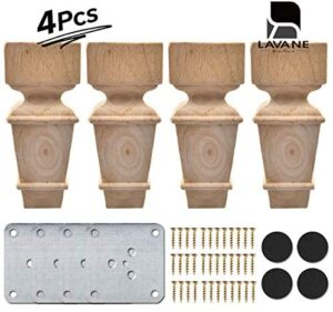 7 inch / 18cm Wooden Furniture Legs, La Vane Set of 4 Carved Geometry Solid Wood Unfinished Replacement Bun Feet with Mounting Plate & Screws for Sofa Cabinet Couch Table TV Stand