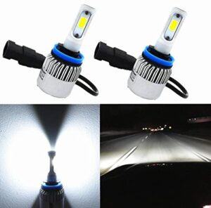 Alla Lighting COB Vision LED H11 Headlight Bulb 8000lm Xtreme Super Bright H8 H9 H11 LED Headlights Replacement 6000K ~ 6500K Xenon White