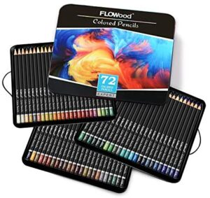 FLOWood Professional Art Colored Pencils 72, Perfect Box-packed Soft Core Colored Pencils with Artist Quality, Ideal Tools to Meet All Drawing Needs for Sketching, Coloring and Shading in Iron Box