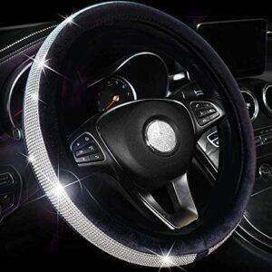Valleycomfy Crystal Diamond Steering Wheel Cover Soft Velvet Feel Bling Steering Wheel Cover for Women Universal 15 inch Plush Wheel Cover (Black)