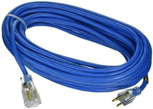 Coleman Cable 2628 Outdoor Extension Cord with Lighted Ends Made of Cold-Flex Weather-Proof Material (50 Feet, 14/3, Blue)
