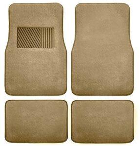 FH Group F14403BEIGE Beige Carpet Floor Mat with Heel Pad (Deluxe), Beige