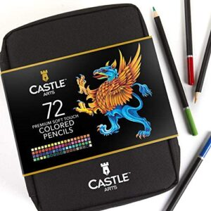 Castle Art Supplies 72 Colored Pencils Zip-Up Set – Easy Zipper Case to Store and Protect Your Coloring Pencils