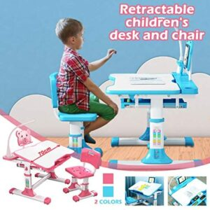 BATKKM Height Adjustable Children's Desk Chair Set, Study Desk with Led Light, Student Writing Painting Portable Tilted Table Top, Built-in Grooves Hold Stationery, for Children Aged 3-18