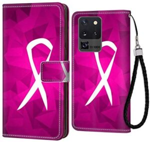 Galaxy S20 Ultra 5G (6.9inch) Breast Cancer Sign Wallet Case with ID Slot