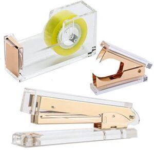 Draymond Story Acrylic Gold Stationery Bundle Set – 1) Stapler 1) Staple Remover 1) Tape Dispenser (Wedding Gift for Guests)