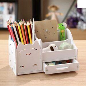 Multi-function Pen pencil holder, Creative pen organizer student cute stationery holder desk organizer office pen pencil cup-white cat 22x11x12cm(9x4x5inch)