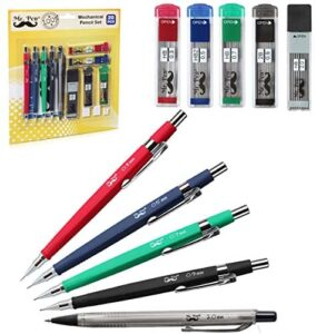 Mr. Pen Mechanical Pencil Set with Lead and Eraser Refills, 5 Sizes – 0.3, 0.5, 0.7, 0.9 and 2 Millimeters, Drafting, Sketching, Illustrations, Architecture and Drawing