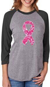 Tstars Camo Pink Ribbon Breast Cancer Awareness 3/4 Women Sleeve Baseball Jersey Shirt
