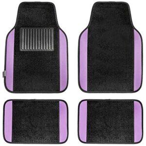 FH Group F14407PURPLE Premium Full Set Carpet Floor Mat (Sedan and SUV with Driver Heel Pad Purple)