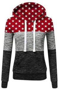 Onemopie Hoodies for Women Pullover Sweatshirts Autumn Winter Casual Stars Contrast Long Sleeve Hoodie Tops Shirts with Pockets,2020 Christmas Fall Clothes